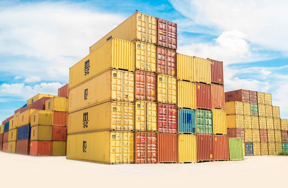 a stack of colorful cargo containers